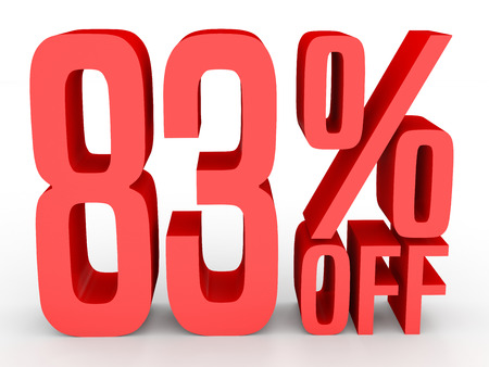 Eighty three percent off. Discount 83 %. 3D illustration on white background.