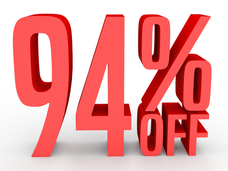 Ninety four percent off. Discount 94 %. 3D illustration on white background.