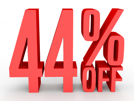 40: Forty four percent off. Discount 44 %. 3D illustration on white background.