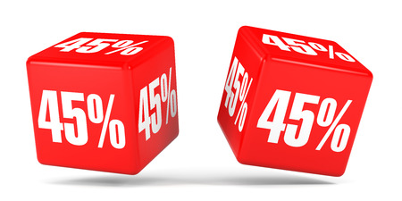 Forty five percent off. Discount 45 %. 3D illustration on white background. Red cubes.