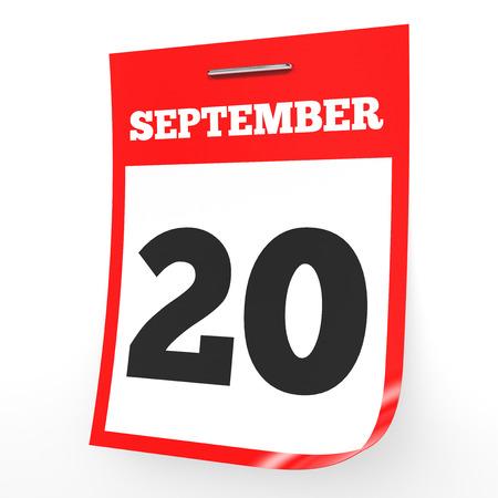 20th: September 20. Calendar on white background. 3D illustration.