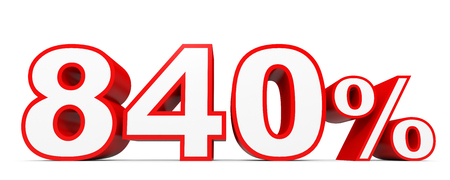 Eight hundred and forty percent. 840 %. 3d illustration on white background. Stock Photo
