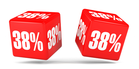 Thirty eight percent off. Discount 38 %. 3D illustration on white background. Red cubes.