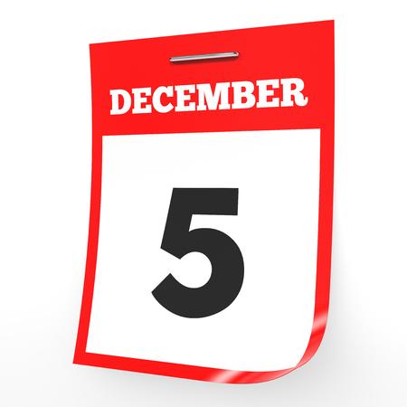 '5 december': December 5. Calendar on white background. 3D illustration. Stock Photo