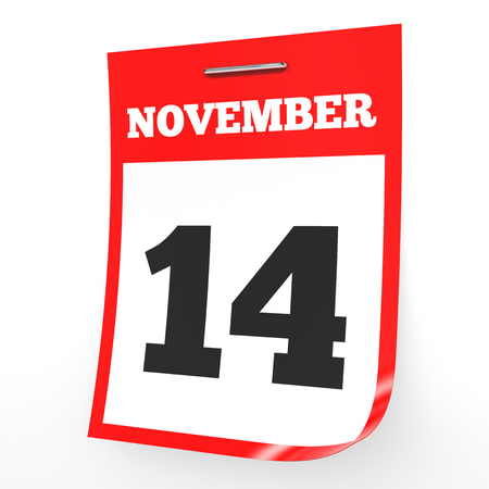 fourteenth: November 14. Calendar on white background. 3D illustration. Stock Photo