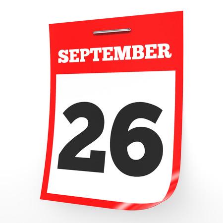 9 月 26 日。白い背景のカレンダーです。3 D イラスト。