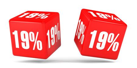 perdidas y ganancias: Diecinueve por ciento de descuento. Descuento del 19%. Ilustración 3D sobre fondo blanco. Cubos rojos.