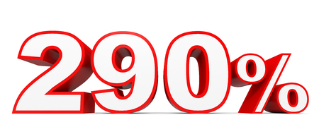 ninety: Two hundred and ninety percent. 290 %. 3d illustration on white background. Stock Photo