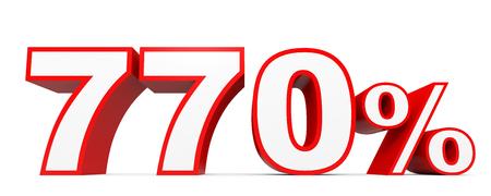 seventy: Seven hundred and seventy percent. 770 %. 3d illustration on white background.