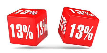 Thirteen percent off. Discount 13 %. 3D illustration on white background. Red cubes.