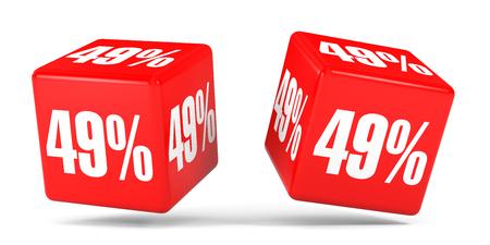 perdidas y ganancias: Cuarenta y nueve por ciento de descuento. Descuento del 49%. Ilustración 3D sobre fondo blanco. Cubos rojos.