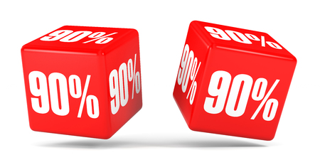 Ninety percent off. Discount 90 %. 3D illustration on white background. Red cubes.