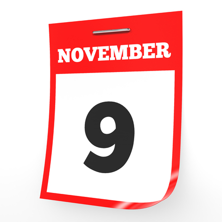 9th: November 9. Calendar on white background. 3D illustration.