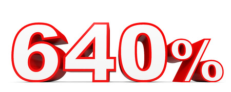 40: Six hundred and forty percent. 640 %. 3d illustration on white background. Stock Photo