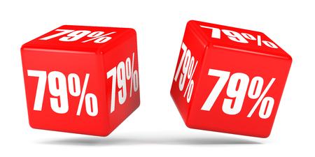 Seventy nine percent off. Discount 79 %. 3D illustration on white background. Red cubes.