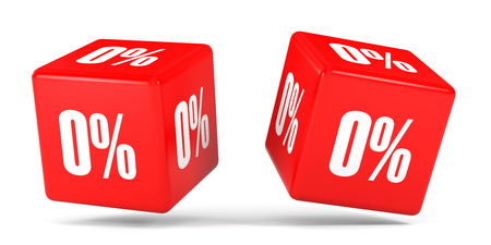 nil: Zero percent off. Discount 0 %. 3D illustration on white background. Red cubes.