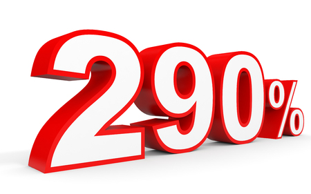 Two hundred and ninety percent. 290 %. 3d illustration on white background. Stock Photo