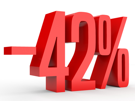 Minus forty two percent. Discount 42 %. 3D illustration on white background. Stock Photo