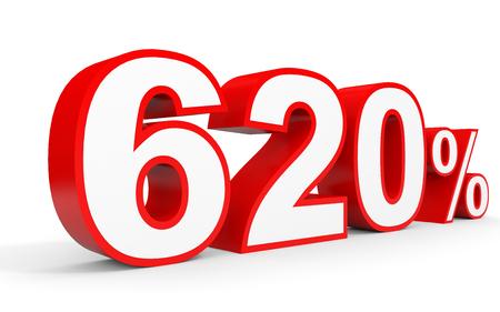 Six hundred and twenty percent. 620 %. 3d illustration on white background.