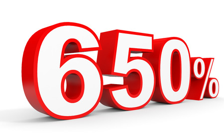 Six hundred and fifty percent. 650 %. 3d illustration on white background.