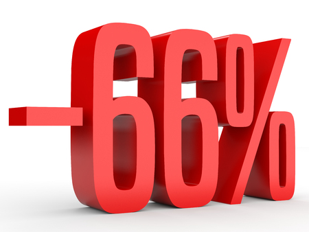 Minus sixty six percent. Discount 66 %. 3D illustration on white background. Stock Photo