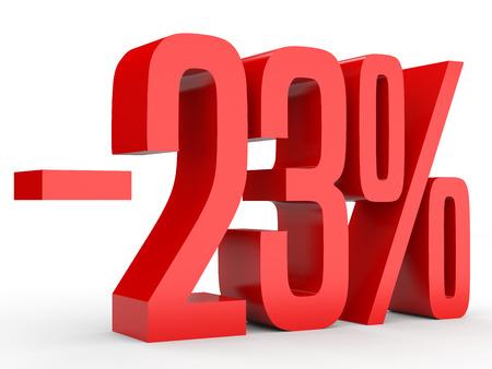 Minus twenty three percent. Discount 23 %. 3D illustration on white background. Stock Photo