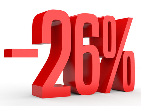 Minus twenty six percent. Discount 26 %. 3D illustration on white background.