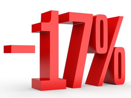 Minus seventeen percent. Discount 17 %. 3D illustration on white background.