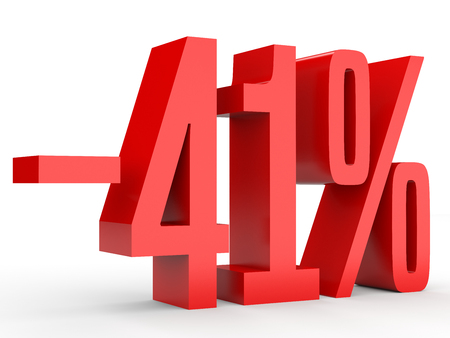 Minus forty one percent. Discount 41 %. 3D illustration on white background.