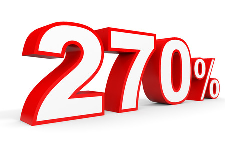 seventy two: Two hundred and seventy percent. 270 %. 3d illustration on white background. Stock Photo