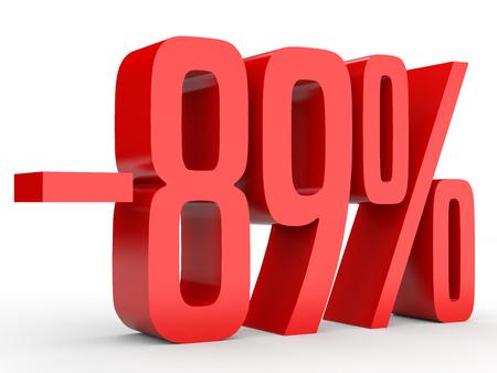 Minus eighty nine percent. Discount 89 %. 3D illustration on white background. Stock Photo