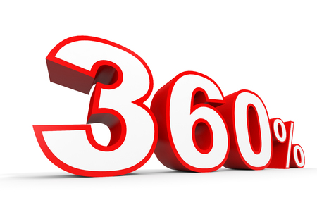 Three hundred and sixty percent. 360 %. 3d illustration on white background. Stock Photo