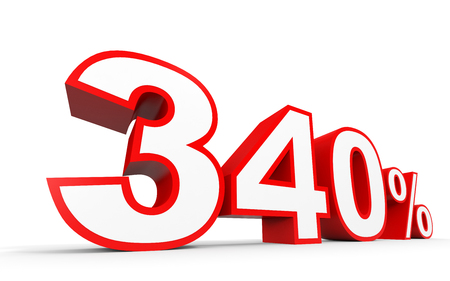 40: Three hundred and forty percent. 340 %. 3d illustration on white background.