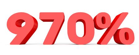 Nine hundred and seventy percent. 970 %. 3d illustration on white background.
