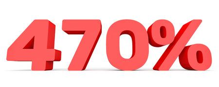 Four hundred and seventy percent. 470 %. 3d illustration on white background.
