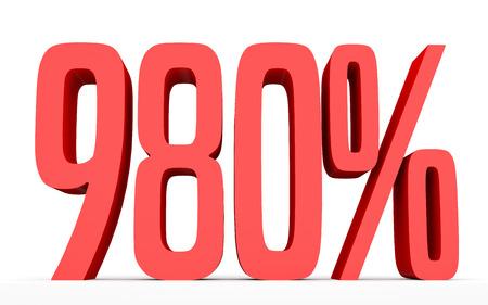 perdidas y ganancias: Novecientos ochenta por ciento. 980%. Ilustración 3d sobre fondo blanco.