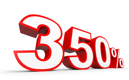 Three hundred and fifty percent. 350 %. 3d illustration on white background.