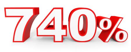 40: Seven hundred and forty percent. 740 %. 3d illustration on white background.