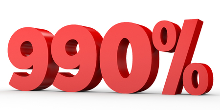 Nine hundred and ninety percent. 990 %. 3d illustration on white background. Stock Photo