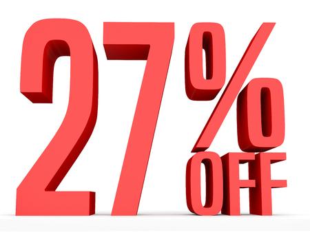 27: Twenty seven percent off. Discount 27 %. 3D illustration on white background.
