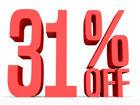 31: Thirty one percent off. Discount 31 %. 3D illustration on white background.