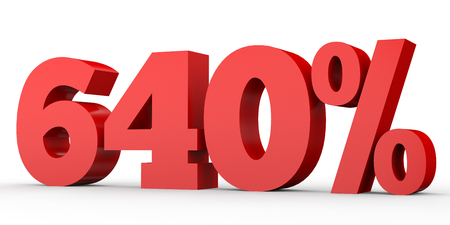 Six hundred and forty percent. 640 %. 3d illustration on white background. Stock Photo