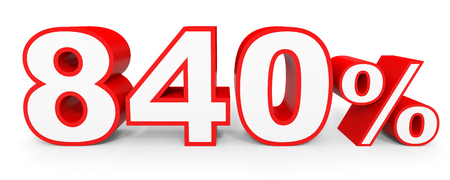 40: Eight hundred and forty percent. 840 %. 3d illustration on white background. Stock Photo