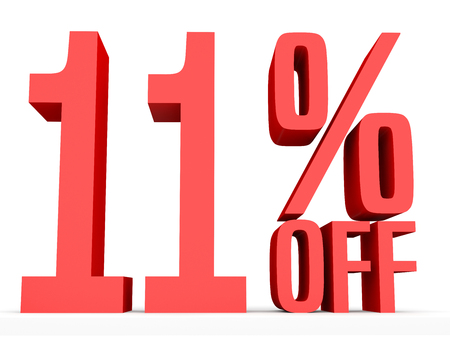 number eleven: Eleven percent off. Discount 11 %. 3D illustration on white background. Stock Photo