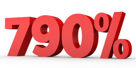 Seven hundred and ninety percent. 790 %. 3d illustration on white background.