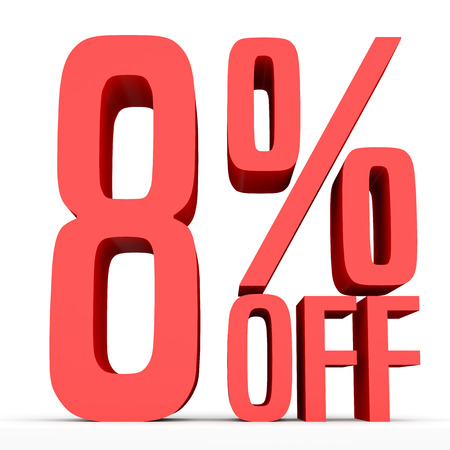 Eight percent off. Discount 8 %. 3D illustration on white background.