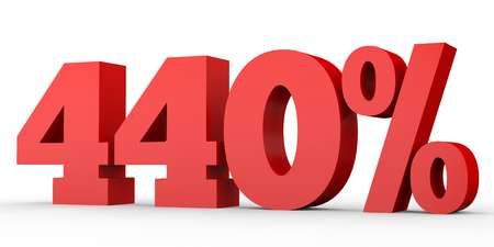 Four hundred and forty percent. 440 %. 3d illustration on white background.