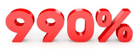 earn money: Nine hundred and ninety percent. 990 %. 3d illustration on white background. Stock Photo