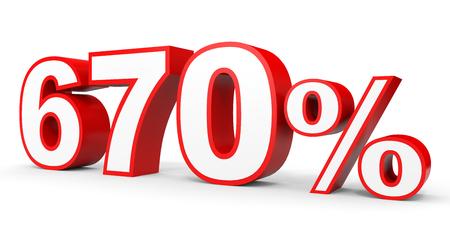 earn money: Six hundred and seventy percent. 670 %. 3d illustration on white background.