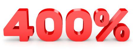 Four hundred percent. 400 %. 3d illustration on white background.